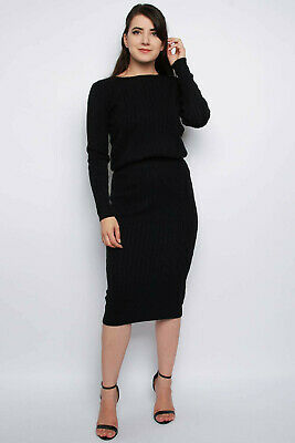 Ladies Cable Knitted Co-Ord Set Long Sleeve Midi Skirt Women Jumper Top Batwing