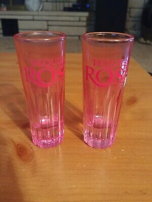 Tequila Rose Shot Glass Shotglass Pink Strawberry Cream Liquor RARE set of 2