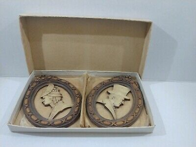 Antique Pair Hand Carved Wood Portrait Plaques French Victorian Man Woman In Box