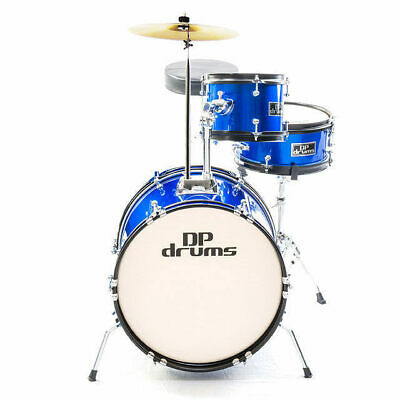 New 3 Piece Junior Drum Kit Complete Set Cymbals Stool Blue DP Drums
