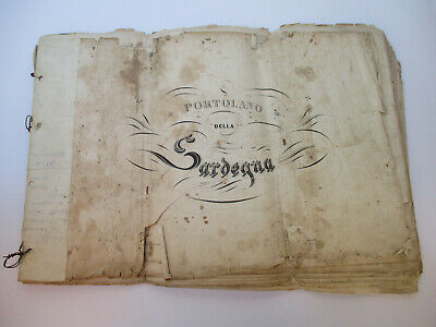 Antique Map Book Set Sardinia Italy Navigation Charts Guiseppe Albini 1850s