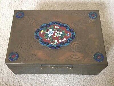 Antique Chinese Flower Cloisonne Decorated Bronze Box Wood Lined Floral Etching