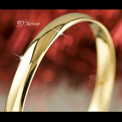18K 18Ct Yellow Gold Filled Slip On Solid Bangle Lady Womens Bracelet 10Mm