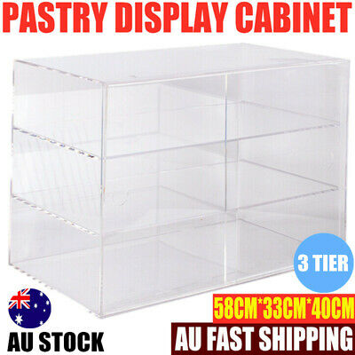 3 Tier Large Bakery Donut Pastry Cupcake Clear 5mm Acrylic Display Cabinet Cover