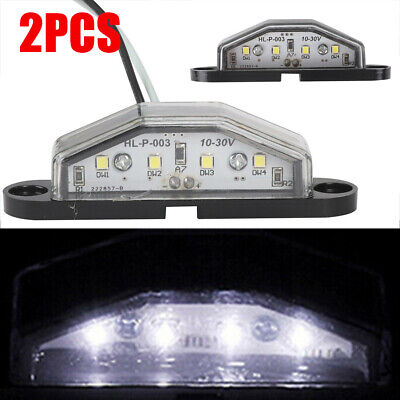 2x 4 LED LICENSE NUMBER PLATE LIGHT TAIL REAR LAMP LORRY VAN CAR TRUCK TRAILER