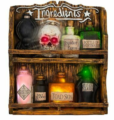 Animated Witch Spice Rack Potion Bottles Skull Halloween Prop Haunted House
