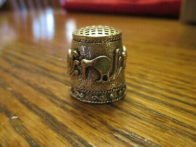 Vintage Collectible Pewter Thimble Abalone Bird