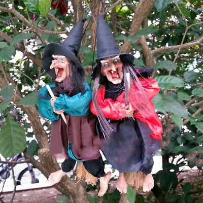Halloween Hanging Animated Talking Witch Props Laughing Sound Control Decor Bs