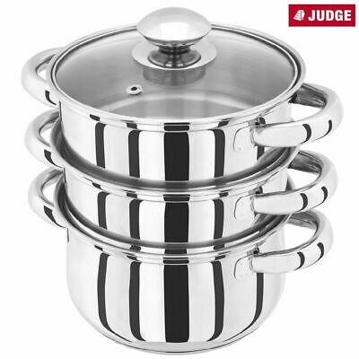 Judge Essential 22cm 3 Tier Steamer Set with Glass lid
