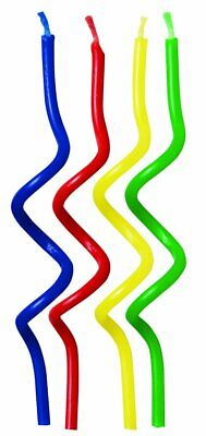 Wilton 12 Pack CURLY CANDLES Multicolour Children Birthday Party Cake Decoration
