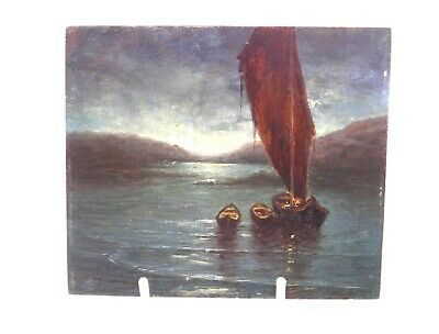 Antique 20th century oil painting on panel marine coastal seascape with boats