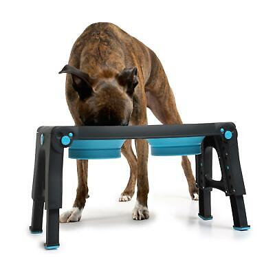 Adjustable Height Collapsible Feeding Stand Portable Dog Cat Food Water Bowl