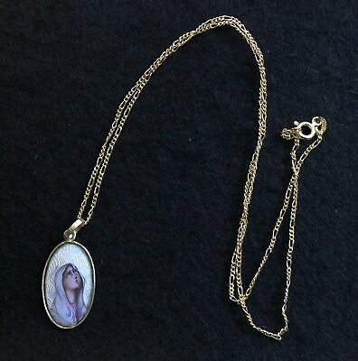 Early 1900's Hand Painted Enameled Maria Dolorosa in 18 K Gold Frame High Rarity