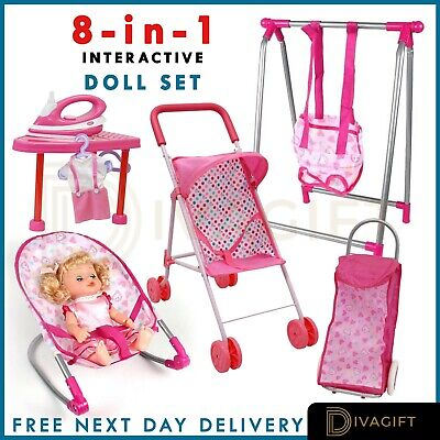 Doll Pram Girls Toy Baby Pushchair Doll Folding Buggy Dolly Childrens Play Kids