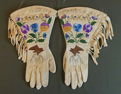 Very Fine 1920's Native American Plateau Embroidered & Beaded Gauntlet Gloves