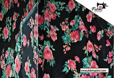 Black &Rose Pink Floral Skin Silky Satin Printed Fabric 148 Cm Wide,High Quality