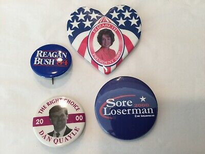GOP Republican party campaign buttons Quayle, Dole, Reagon and Bush