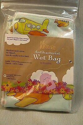NEW KISSA'S ANTIBACTERIAL WET BAG-Diapers and More-Airplanes-Machine Wash