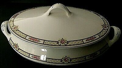 Vintage Homer Laughlin Rose pattern oval Covered Casserole dish D 20 N with gold