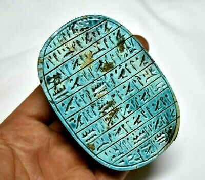 ANCIENT ANTIQUE EGYPTIAN EGYPTIAN glazed faience large scarab b