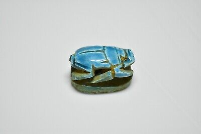 ANCIENT ANTIQUE EGYPTIAN EGYPTIAN glazed faience scarab i