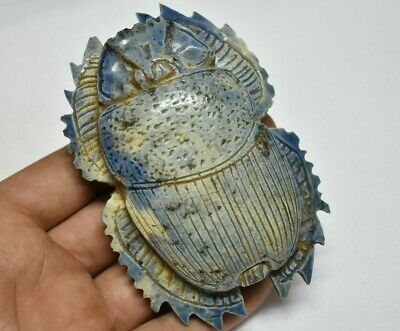 ANCIENT ANTIQUE EGYPTIAN EGYPTIAN glazed faience large scarab f