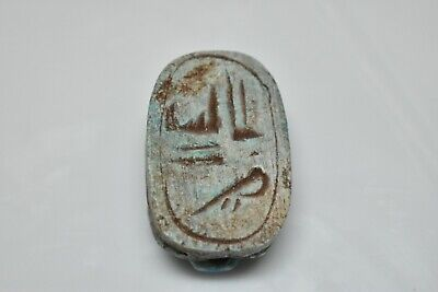 ANCIENT ANTIQUE EGYPTIAN EGYPTIAN glazed faience scarab (300-1500 BC