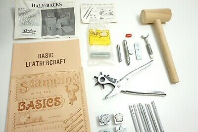 Vintage Tandy Leather Craft Kit With Various Tools Punch Stamps Carving Etc...