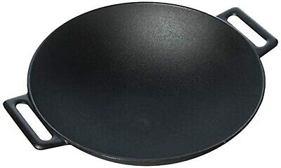 Cast Iron Large Grilling Wok Heavy Duty Construction Sturdy Base Cookware New