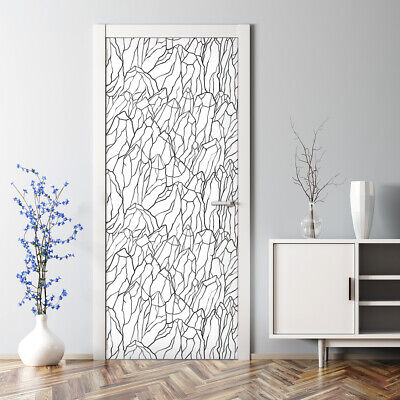 Mount Black Removable Door sticker Sketch of Mountains Pattern Peel and stick