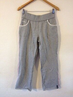 LA Gear Soft Jersey Jogging Bottoms Size M Light Grey With Pink <R11001