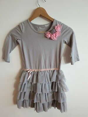 Guess Pretty Girls Dress 6-7 Years Grey Pink Embellished <RK434