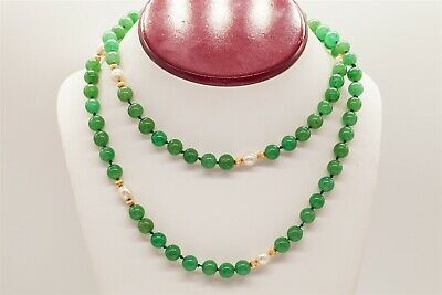 """Vintage 1950s $3000 250ct Natural Green Jade Pearl 14k Yellow Gold 32"""" Necklace"""