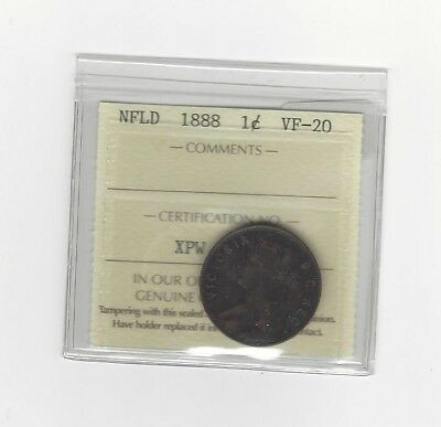 1888, ICCS Graded Newfoundland, Large One Cent, **VF-20**