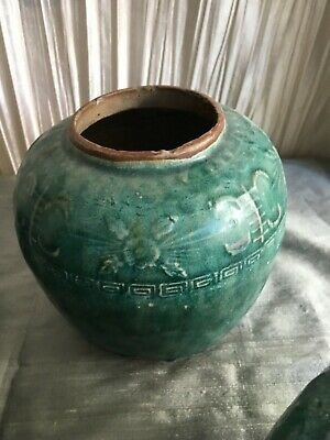 Antique Chinese green ginger pot open top 5 3/4 high chop underneath
