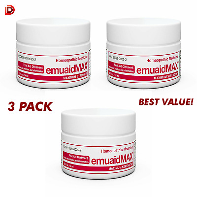 Emuaid MAX First Aid Ointment 0.5oz 3 Pack - Eczema Acne Dermatitis Psoriasis