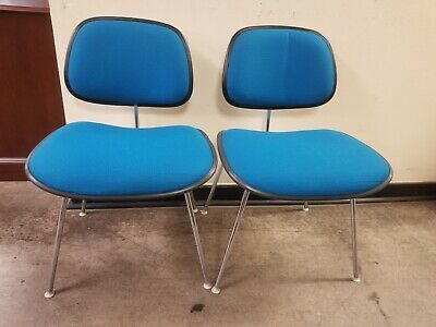 SIGNED EAMES Herman Miller LCM guest chairs fabric Mid Century Modern MCM BLUE