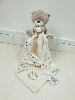 Mothercare Cream Brown Spotty Comforter Teddy Bear Soother Soft Toy
