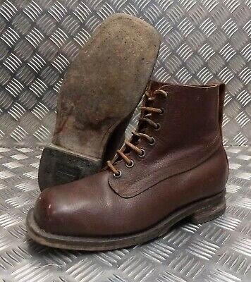 Genuine Vintage Leather WWII Style 1963 Brown 7 Hole leather Sole Boots Eur 43