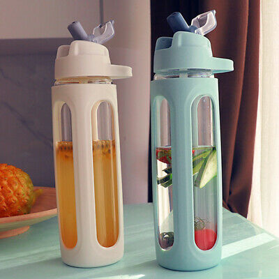 600ml Travel Glass Large Capacity Water Bottle With Straw Drinking Sports Handle