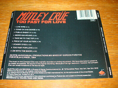 BACK TRAY CARD ONLY Motley Crue Too Fast For Love