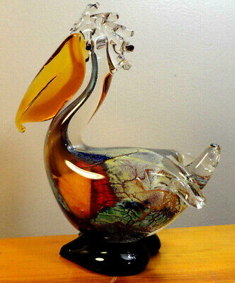 "New 10/"" Large Hand Blown Art Glass Pelican Bird Figurine LG White Red Stripes"