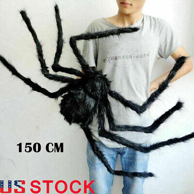 5FT 150CM Hairy Giant Spider Decoration Halloween Prop Haunted House Party Decor
