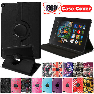 """For amazon Kindle Fire 7"""" HD8 Tablet - Smart Leather Rotating Stand Cover Case"""