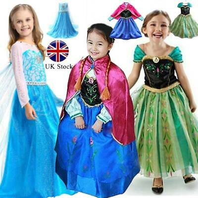 Kids Princess Queen Elsa Anna Cosplay Costume Party Fancy Dress 2-10Years