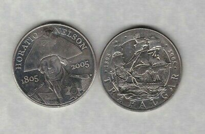 Two 2005 Nelson & Trafalgar £5 Crowns In Mint Condition With Capsules