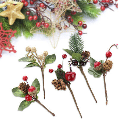 5PCS Real Natural Small Pine Cones In Bulk Fit Christmas Tree Topper Ornament Au