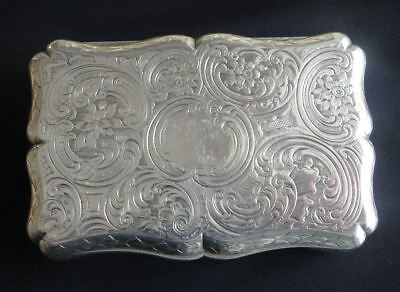 IMPRESSIVE LARGE ANTIQUE VICTORIAN ENGLISH STERLING SILVER TABLE SNUFF BOX c1841