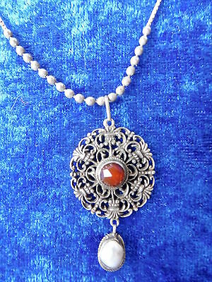 Beautiful, Old Chain___ with Pendant __925 Silver __ with Red Stone and Nacre __