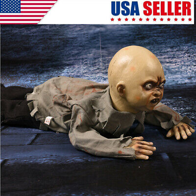 Animated Crawling Baby Zombie Scary Ghost Baby Doll Haunted Halloween Decor BJ